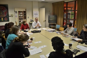 Peter Diekmeyer and participants at last Tuesday's (March 11, 2014) Business of Writing workshop held at the Thomas Moore Institute.